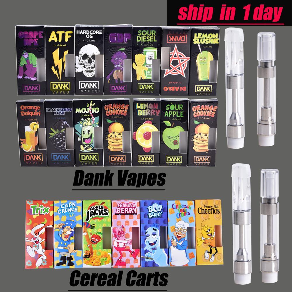 Dank Vapes Cereal Carts Cartridge Box 1 0ml 1 Gram Ceramic Coil Tank Vape  Carts for 510 Thick Oil Vaporizer Atomizer at202