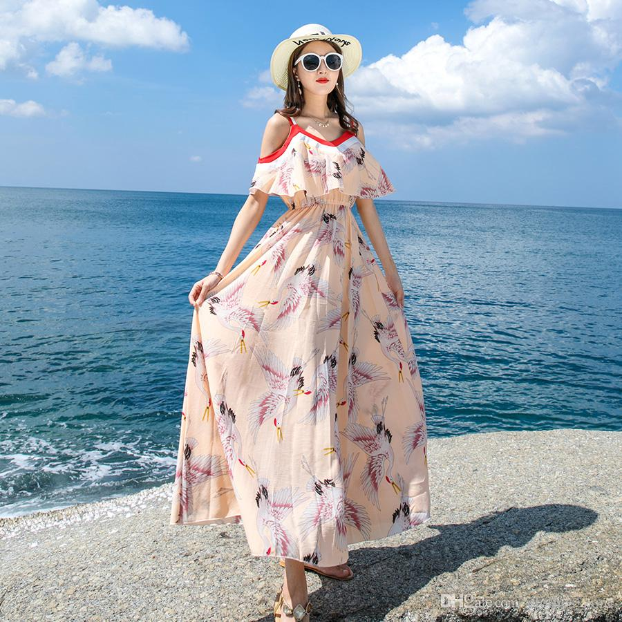 85284f45a08 Summer Dress Orange Pink Crane Print Unique Off The Shoulder Lady Dinner  Evening Ruffle Sleeve Casual Daily Maxi Dresses Junior Dresses Pink Dresses  From ...
