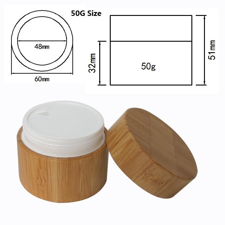 Bamboo Cream Jar PP Plastic Container 10G 20G 30G 50G Empty Refillable Bottle Cosmetic Packaging Pot Bamboo Wooden Jar (3)
