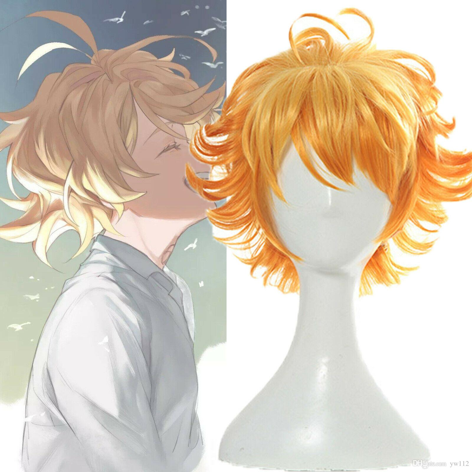 The Promised Neverland Emma Short Orange Ombre Gradient Curly Hair Cosplay  Wigs