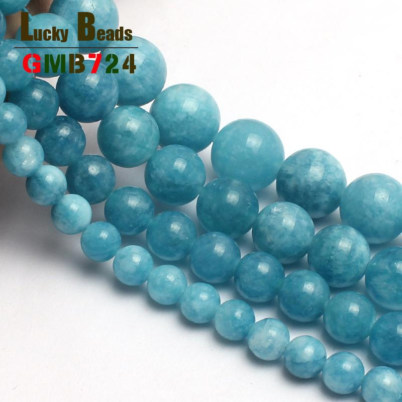 Fashion Jewelry Natural Stone Beads Blue Chalcedony Stone Round Beads For Jewelry Making 15inches 4/6/8/10/12mm Free Shipping