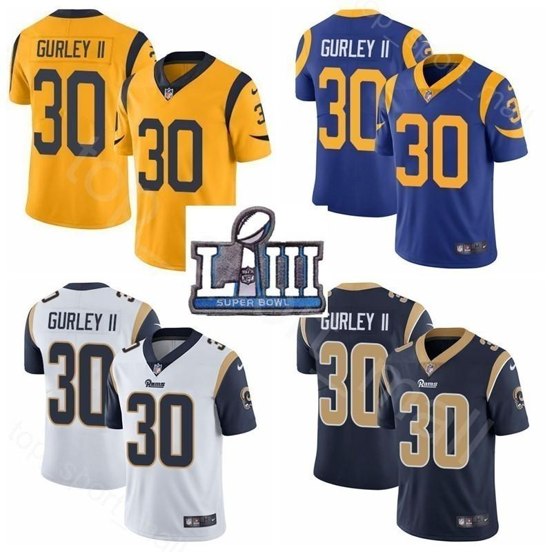 huge discount 63cfc 3acbb Super Bowl LIII Patch Men Women Kids Los Angeles Rams Todd Gurley Jersey II  30 Man Woman Youth Blue White 2019 Football Navy