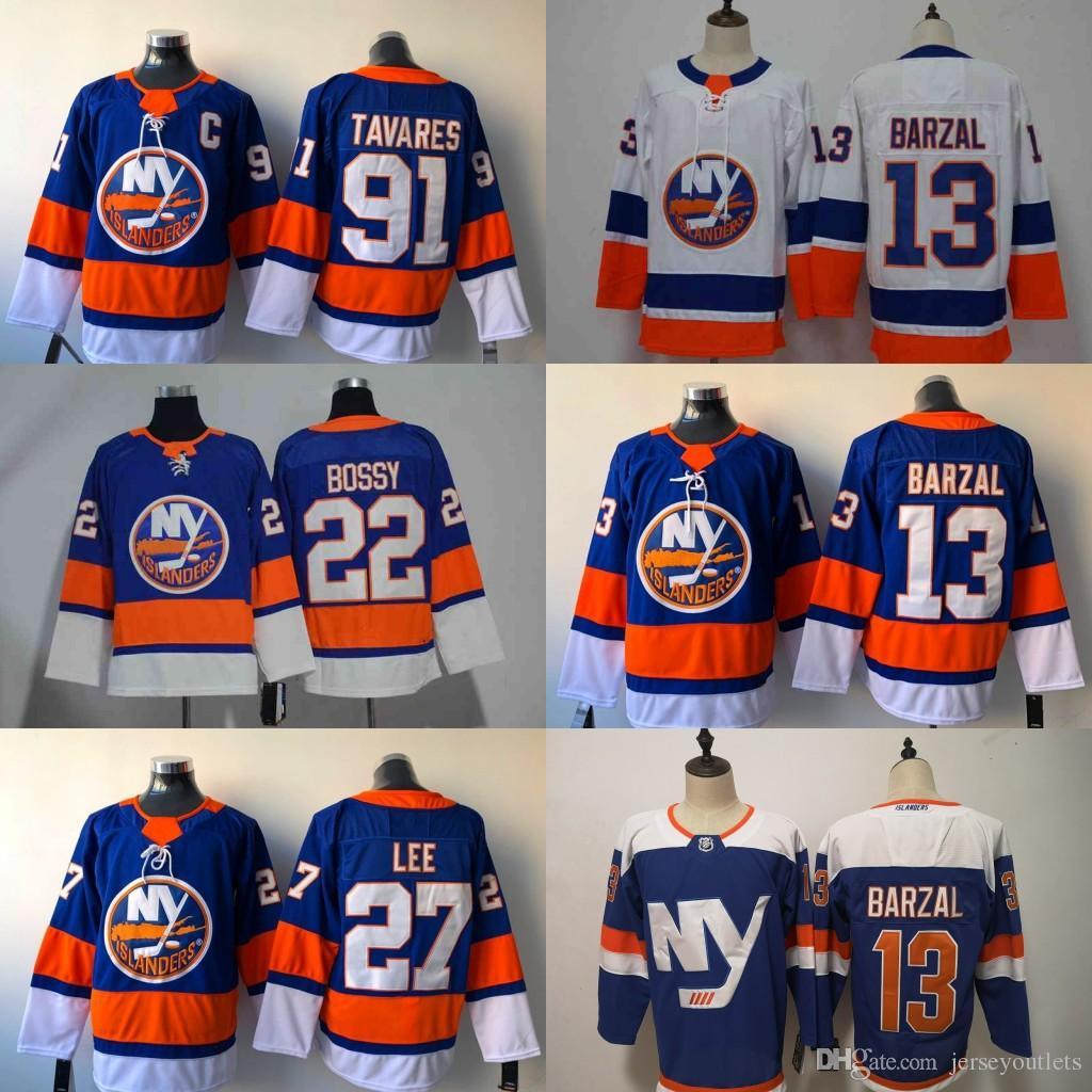 74e7e9d18d1 2018 New York Islanders Jersey 13 Mathew Barzal 22 Mike Bossy 27 ...