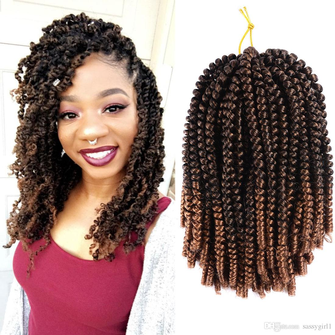 30Roots/Pcs Curly Crochet Hair Extensions Spring Twist Hair Kinky Twist Braiding Synthetic Hair For Braid 8 Inch