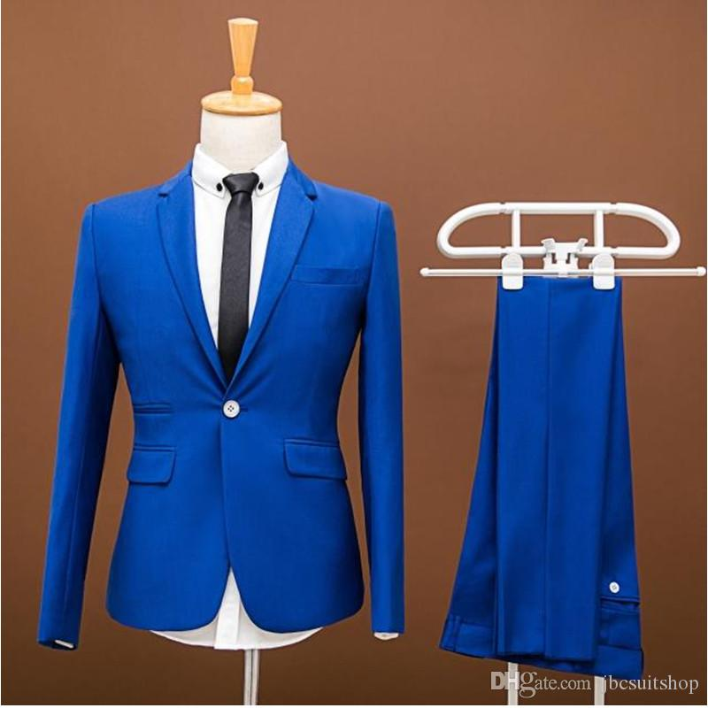 Men Prom Suits Plus Size New Brand Wedding Dress Men Business Vintage Royal Blue Wedding Suit Groom Men Suit Slim Fit Suit (jacket+pants)