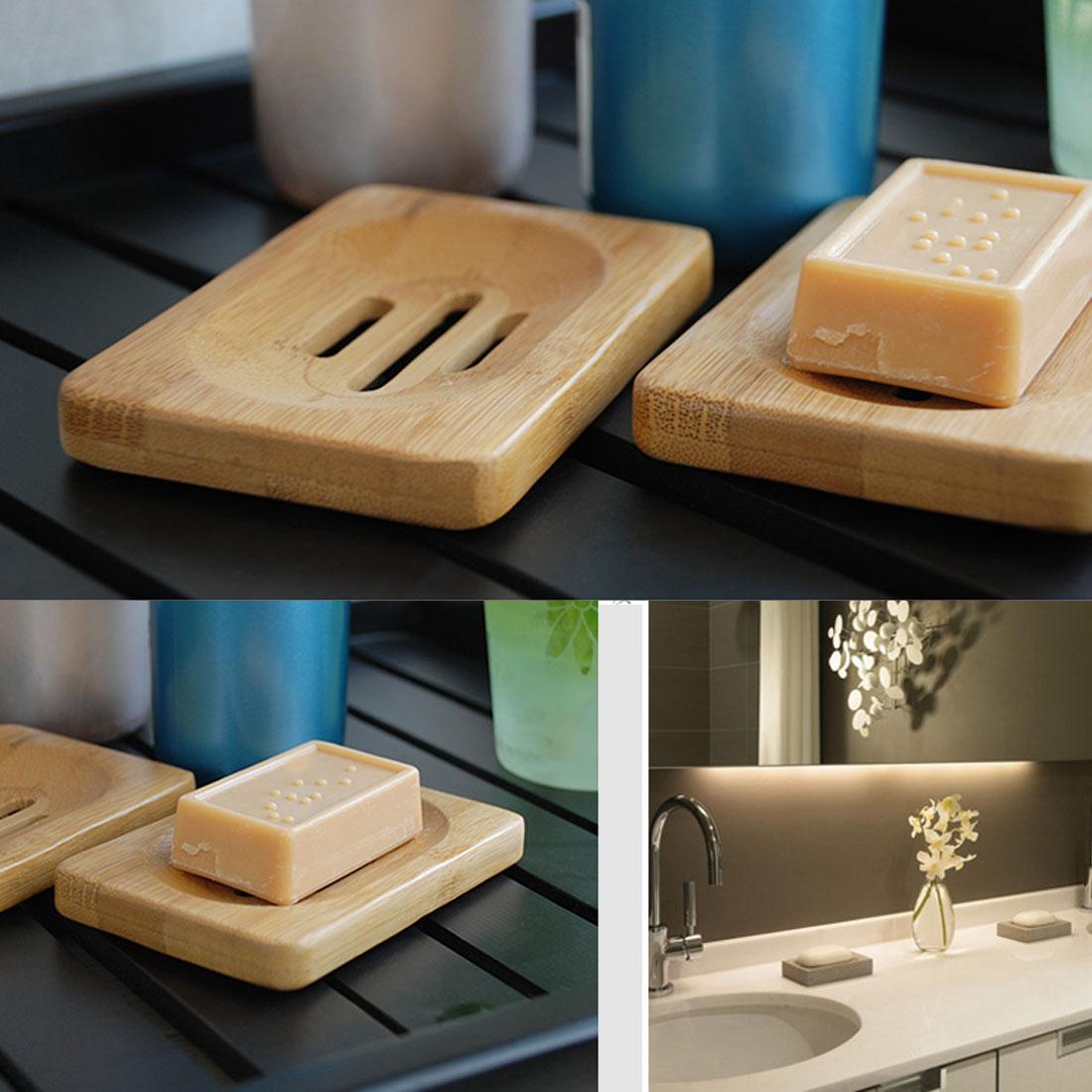 Hot Sale Natural Bamboo Wood Soap Dish Storage Holder Bath Shower Plate Bathroom