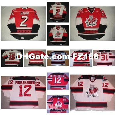 2017 Mens Womens Kids 31 Ari Ahonen AHL Albany River Rats 2 Noah Babin 100%  Embroidery Custom Any Name Any No  Ice Hockey Jerseys Goalit Cut