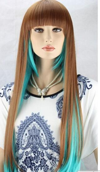 ae39af36e64 Fashion Women Heat Resistant Long Straight Hair Cosplay Costume Brown And  Green Full Wig Wigs Synthetic Half Wig Katy Perry Wig From  Dingyingying8889, ...