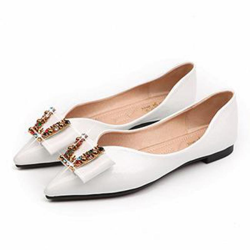 2d2085b8c909f5 Women Patent Leather Pointed Toe Wedding Shoes Crystal Flats Rhinestone  Color Metal Buckle Flat Shoes Womens Loafers Flat Shoes High Heel Shoes  Nude Shoes ...