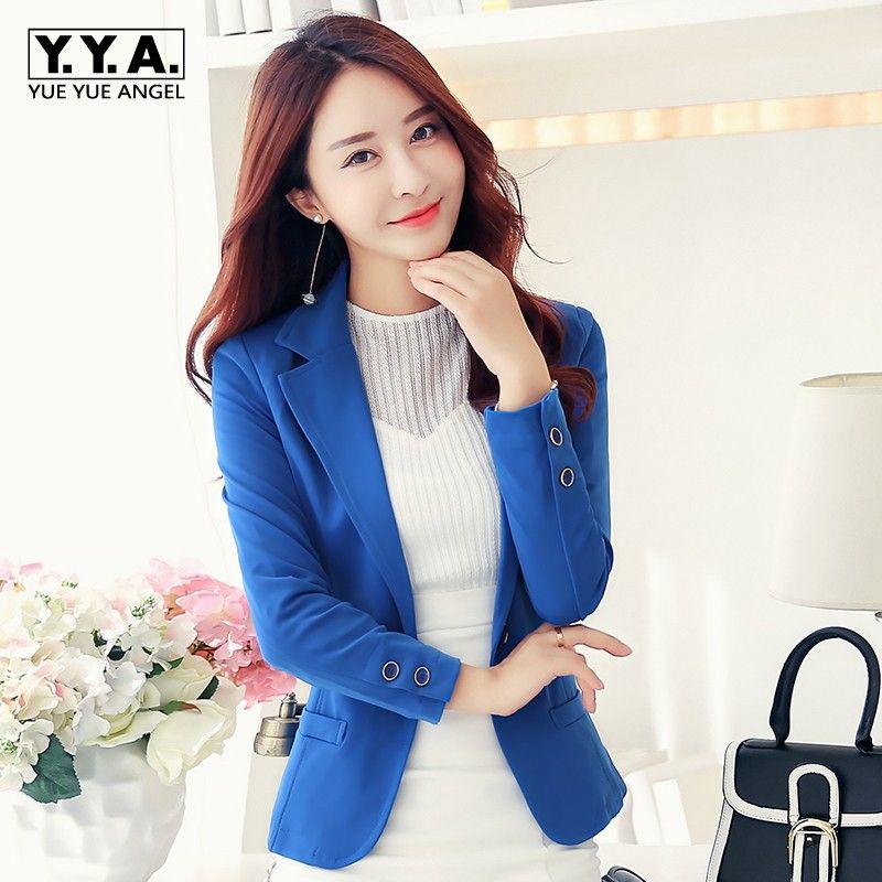 8932396dc2b4 2018 Blue Black Suit Jacket Female Korean Womens Autumn Slim Short ...