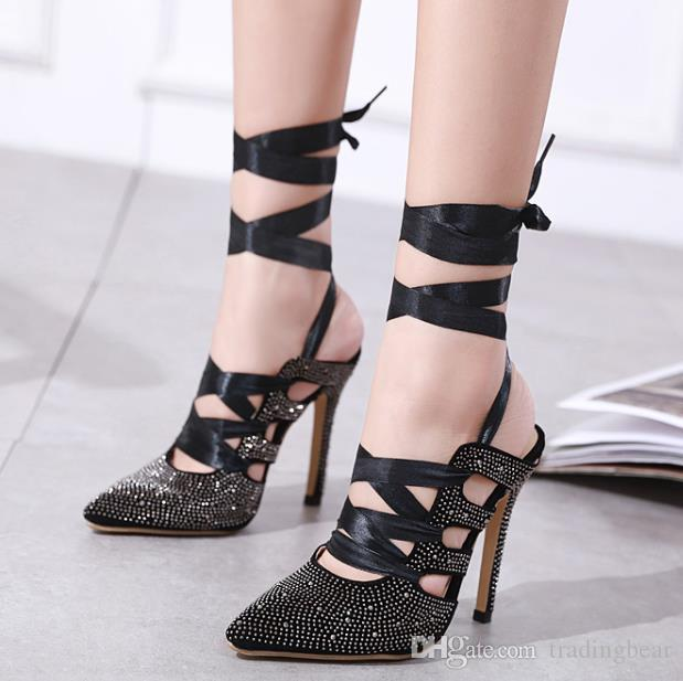 917ef4c6c Milan Fashion Designer Pumps Glitter Black Rhinestone Studded Hollow Out  Ankle Wrap Pointed Toe High Heel Women Dress Shoes Size 35 To 40 Cute Shoes  Green ...
