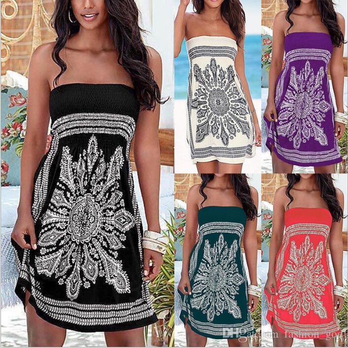 5888cccbe1 Compre Vestidos Ropa De Mujer Mandala Flor Vestido De Playa Verano Imprimir Mini  Vestidos Casual Vestido Sin Mangas Señora Moda Hombros Blusas B4701 A  7.0  ...