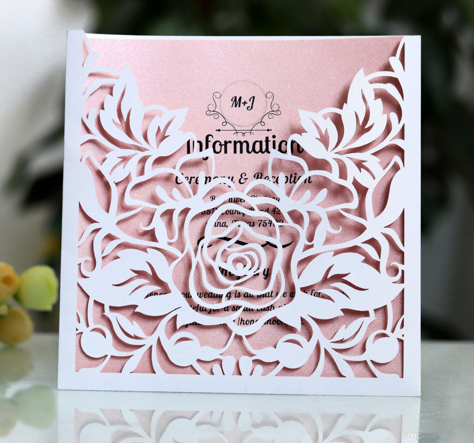 Personalized Wedding Invitations.Laser Cut Wedding Invitations Oem In Multi Colors Customized Hollow With Roses Folded Personalized Wedding Invitation Cards Bw Hk130