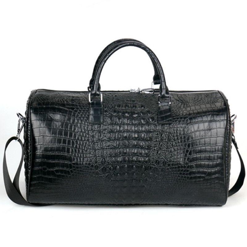 283ccba52be Male Genuine Leather Travel Bag Large Crocodile Pattern Big Fitness Handbag  Luggage Drums Shoulder Business Computer Bags Black Men Handbags Duffle  Garment ...