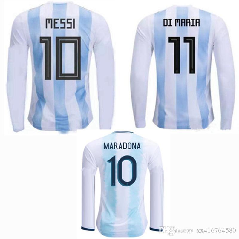 745b3ceb1 Copa AMERICA CUP 2018 2019 2020 Argentina Camiseta De Fútbol De Manga Larga  Camiseta MESSI DYBALA DI MARIA AGUERO En Casa 19 20 Fútbol Completo S 2XL  Por ...