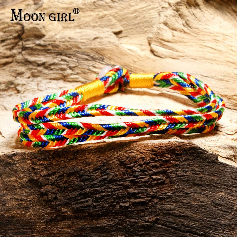 MOON GIRL Fashion Colorful Multilayer Friendship Charm Bracelets for Women Bohemian Yoga Cheap Lucky Chic Girl Bracelet