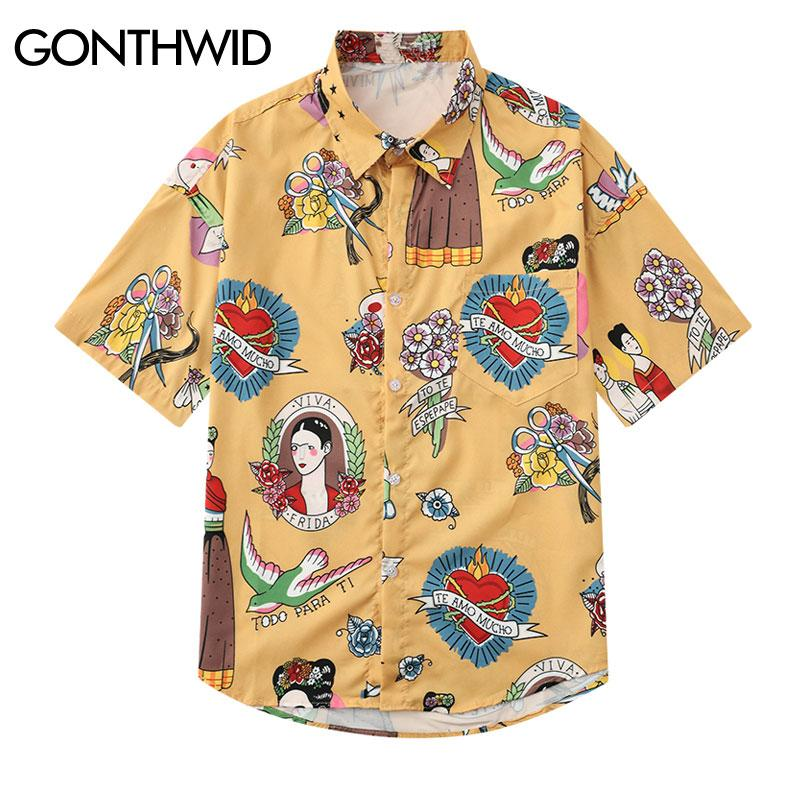 91b93c8a36 vendita all ingrosso Graffiti Frida Kahlo Viva La Vida Stampa Hawaii Beach  Camicie 2019 Estate Casual Camicia a maniche corte Streetwear Maschio