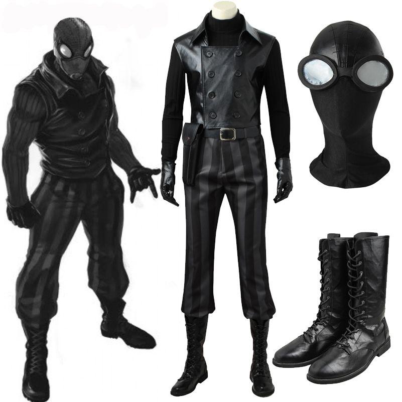 5a7a6cdc53e Spider-Man Noir Cosplay Costume Carnival Halloween Costume Cosplay  Spider-man Black costume Mask Noir suit