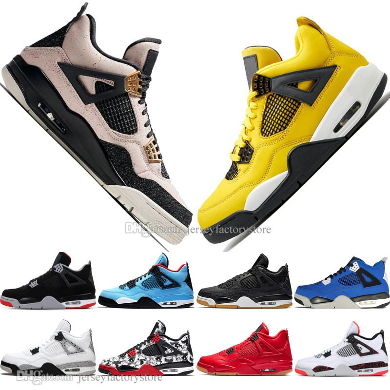 Fashion Newest Bred 4 4s What The Cactus Jack Laser Wings Mens Basketball Shoes Denim Blue Pale Citron Men Sport Designer Sneakers US 5.5-13