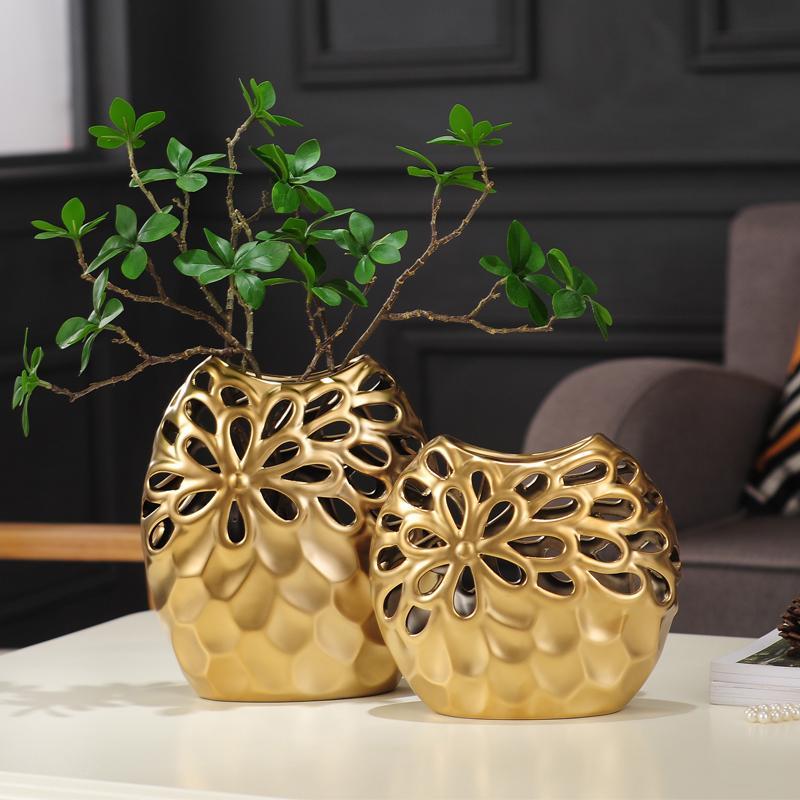 . Nordic home decoration flower vases ornaments gold Hollow ceramic vase  living room ornaments vases for wedding decor