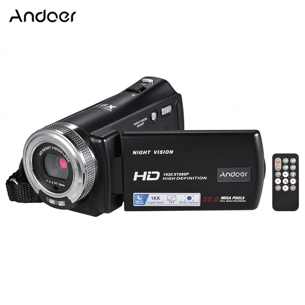 736e7faa5 Compre Andoer V12 1080 P Câmera De Vídeo Full HD 16X Digital Zoom Filmadora  W / 3.0 Polegada Tela LCD Rotativa Suporte Night Vision De Starship13, ...