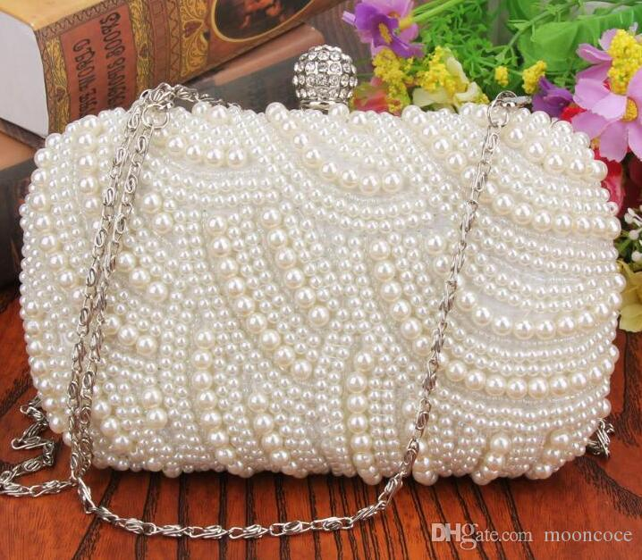 Fashion Handmade Beaded Pearls Evening Clutch Bags Moda Diamond Hasp Dinner Bag Celebrity Borsa frizione borsa del partito
