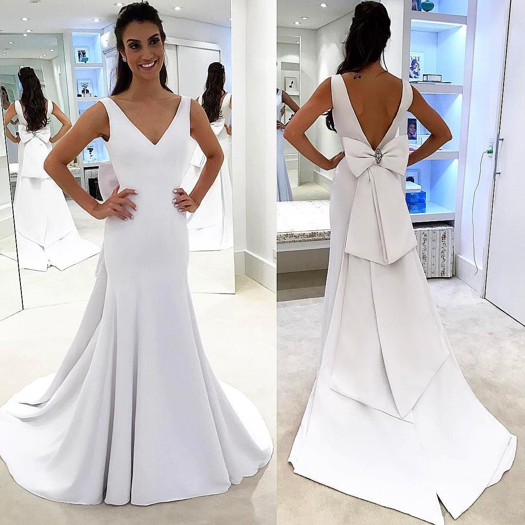 Plain Designed Pure White Simple Wedding Dresses V Neck Mermaid Backless Bridal Gowns with Big Bow Sash Romantic Robe 182