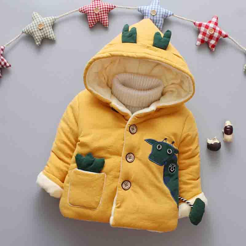 3d2d7d73938 BibiCola 2018 winter newborn girl clothes fashion cartoon hooded baby boy  Cotton Outwear warm thick jacket infant yellow clothes