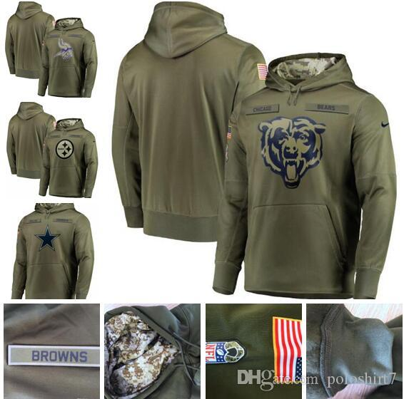 sports shoes 7975e e8e15 Chicago Minnesota Bears Vikings Dallas Pittsburgh Cowboys Steelers Olive  Sweatshirt Salute to Service Pullover Hoodie Men Women Kid Youth