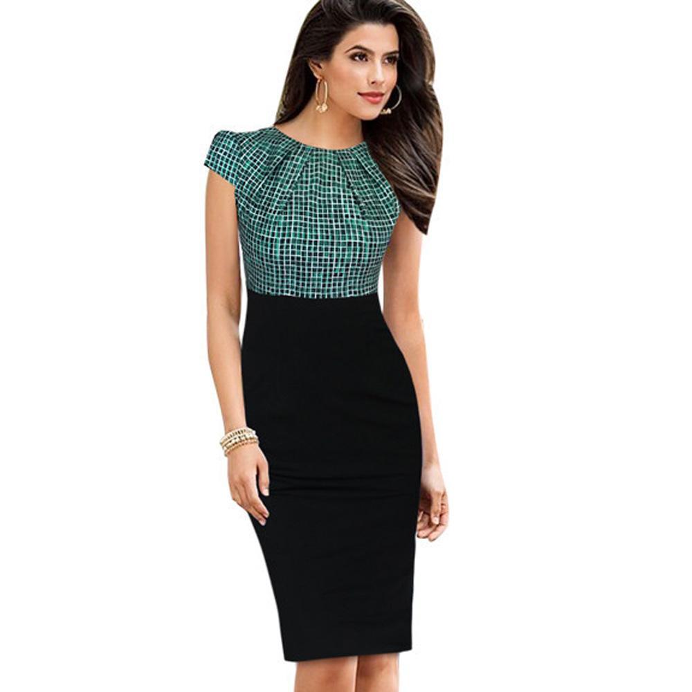 premium selection 52872 ed68c Vestito da lavoro da ufficio per donna 2019 Vestito da donna estivo con  maniche eleganti Vestito a maniche corte aderente con stampa a pois scozzese