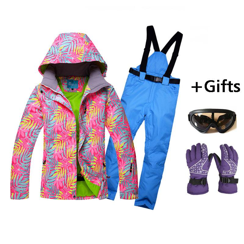 2017 new Women wear-resisting Skiing Jackets And Pants Snowboard sets Thick Warm Waterproof Windproof Winter female Ski suit