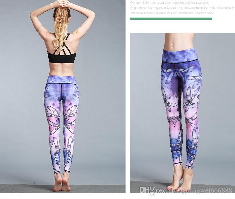 2019 New Yoga Spring New Dragonfly Printed Yoga Nine-minute Pants Outdoor Sports Fitness Pants Tight Elastic Yoga Pants
