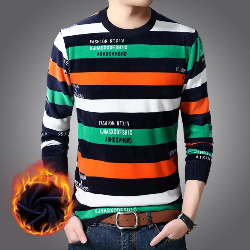 Mens Knit Tops Sweater Pullover Basic O Neck Fleeced Thick for Autumn Winter Fresh Striped Fashion Casual BO24461214