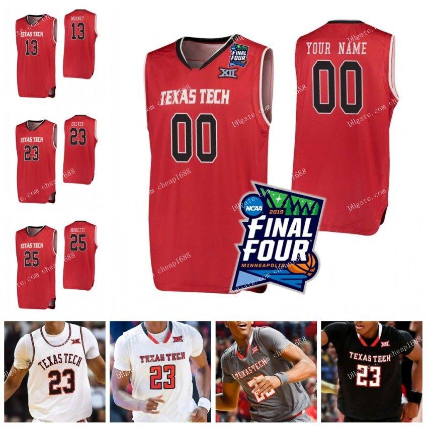 b750884ba3e 2019 TTU Texas Tech NCAA 2019 Final Four College Basketball 25 Davide  Moretti 23 Jarrett Culver 13 Matt Mooney Custom Any Name Number Jerseys  From Cheap1688 ...