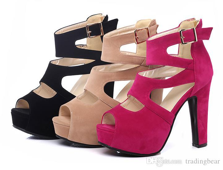Plus Size 40 41 42 43 Rome Style Hollow Out High Platform Thick Heel Shoes 2019 Sandals Small Size 33 34