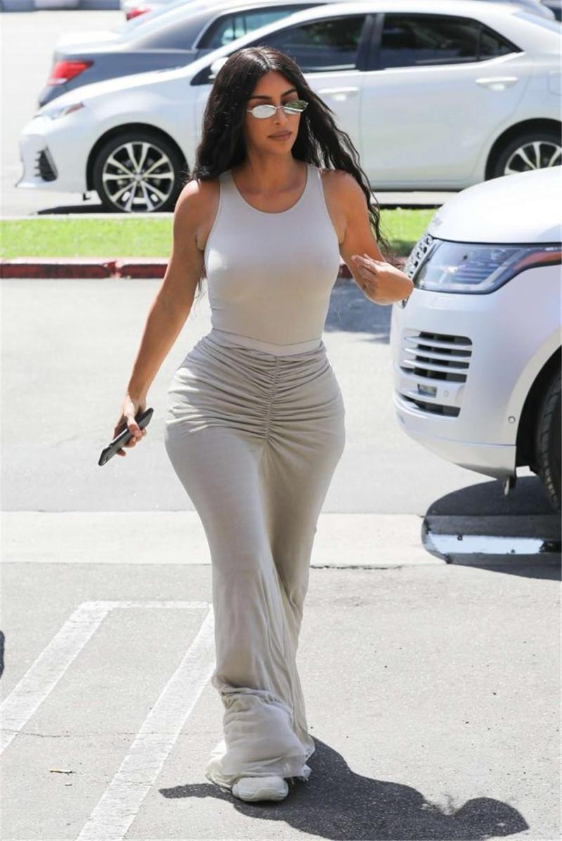 Kim Kardashian Women Designer Dresses Solid Color Irregular Skirt Fashion Hip Autumm Dresses Casual A Line Sexy Women Clothing