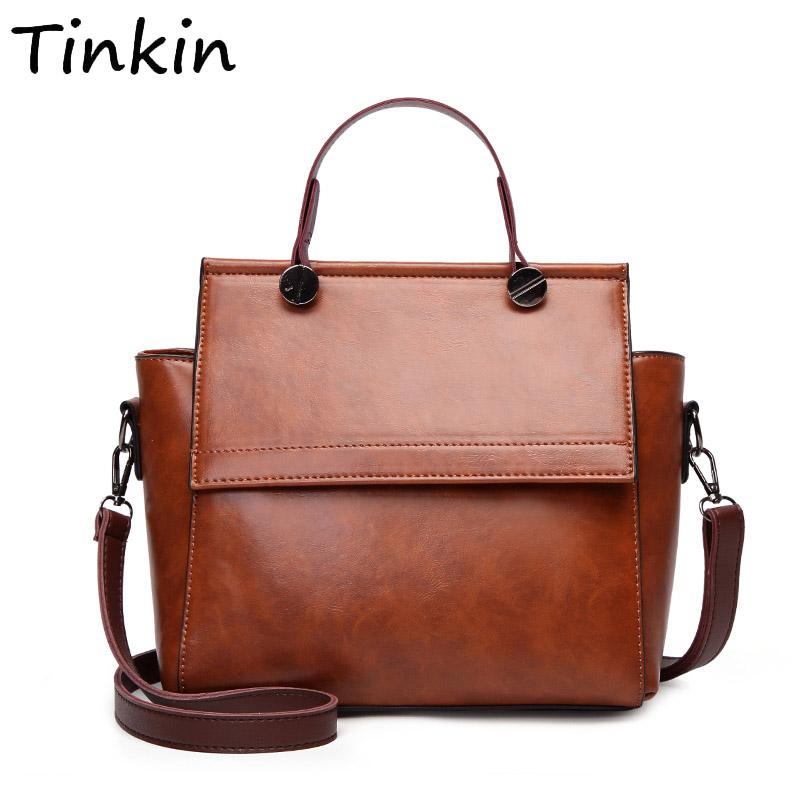 48a99f7458b Tinkin Women Retro PU Shoulder Bag Female Vintage Daily Handbag Elegant  Crossbody Bag For Shopping Classy All Match Dames Tassen Leather Handbag  Red ...