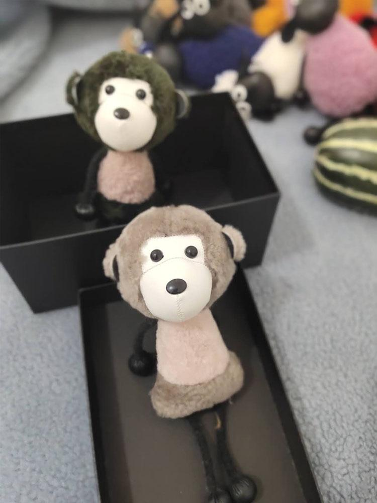 Fur one bag pendant, cute little monkey car keychain hanging