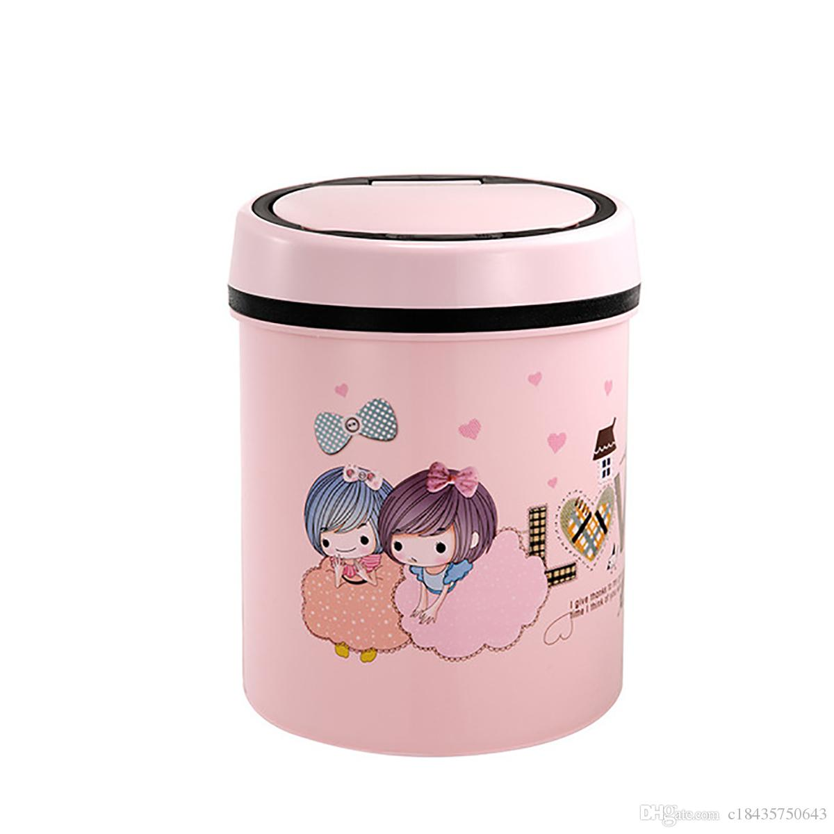 Small Automatic Trash Can Touchless Intelligent Induction Garbage Bin With Inner Bucket Contactless Circulator Quiet Lid Close Can Pink
