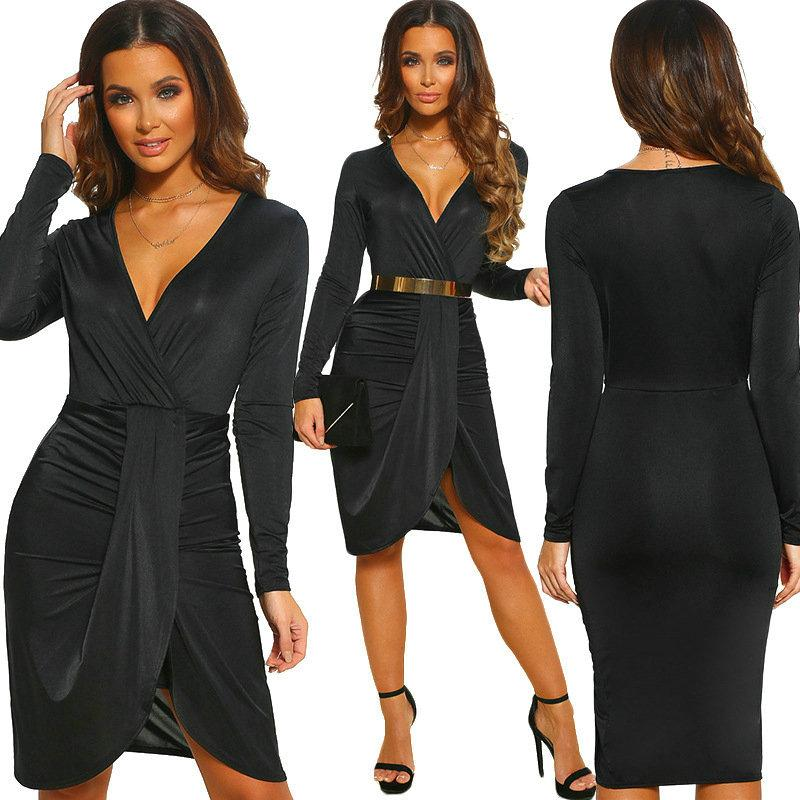 9488ff8da8 Sexy V Neck Women Dress Long Sleeve Bodycon Dress 2019 Hot New Tight Dresses  Fashion Pencil Dresses Party Nightclub Dress UK 2019 From Wuarray
