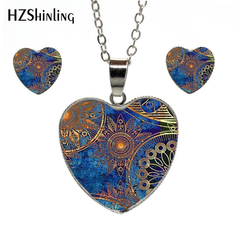 2018 новинка в этническом стиле цветочные кулон сердце ожерелье серьги комплект стеклянный купол серебряные ожерелья серьги-гвоздики