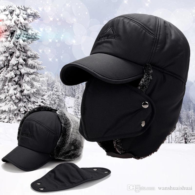 135101e220b 2019 Men S Ear Protection Face Bomber Hats Thicker Plus Velvet Warm Woman Winter  Hat Resist The Snow Male Bone Cap Ski Hat From Wanshuaishuai