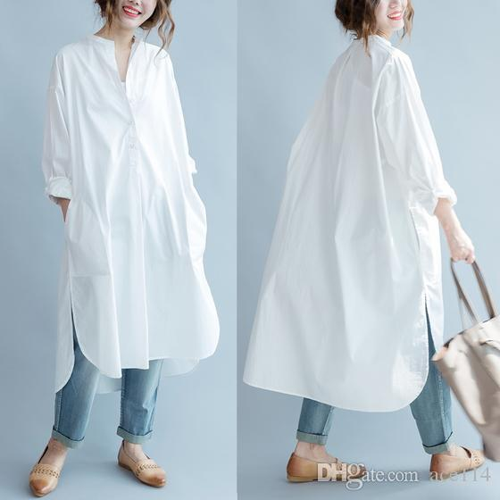 Women Dress White Cotton Shirt Dress Loose Plus Size Long Women Dresses Vintage Spring Summer Casual Wear Free Size New
