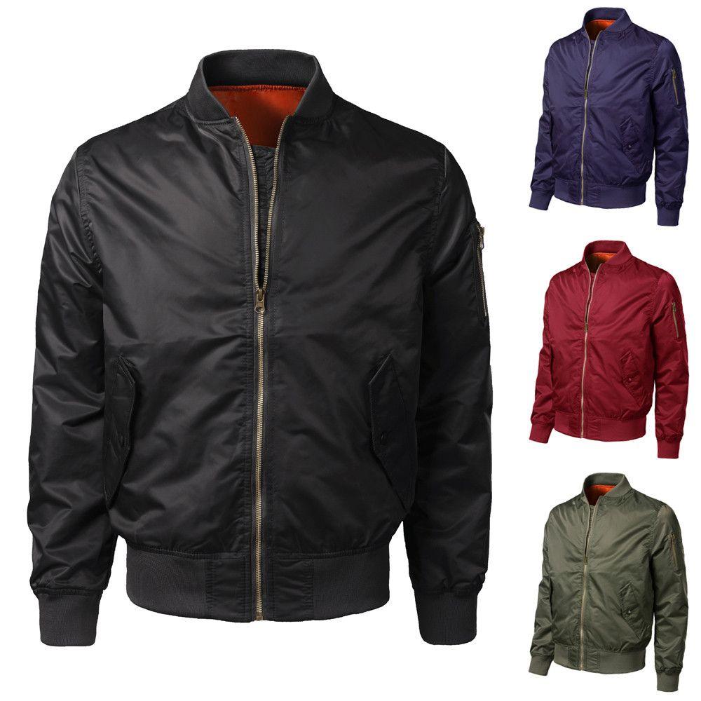 3ed7e716a 2019 brand new Men Spring Autumn Winter Casual Solid Slim Bomber Jacket  Zipper Casual waterproof Outwear 487g-733g