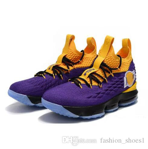 9d4e575d99e3 2019 2018 LeBron 15 LA Basketball Shoes Men Purple Yellow Los Angeles  Sneakers Men Designer Shoes Size 41 46 From Fashion shoes1