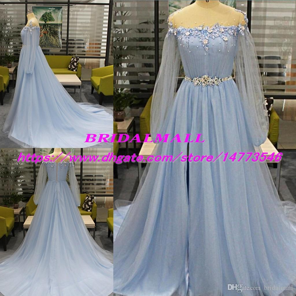 d4e727a017f Illusion Neck Appliqued Tulle Blue Prom Dresses 2019 New Sheer Long Sleeves  Formal Evening Gowns Sweep Train Side Split Sweet 16 Party Dress Elegant  Prom ...