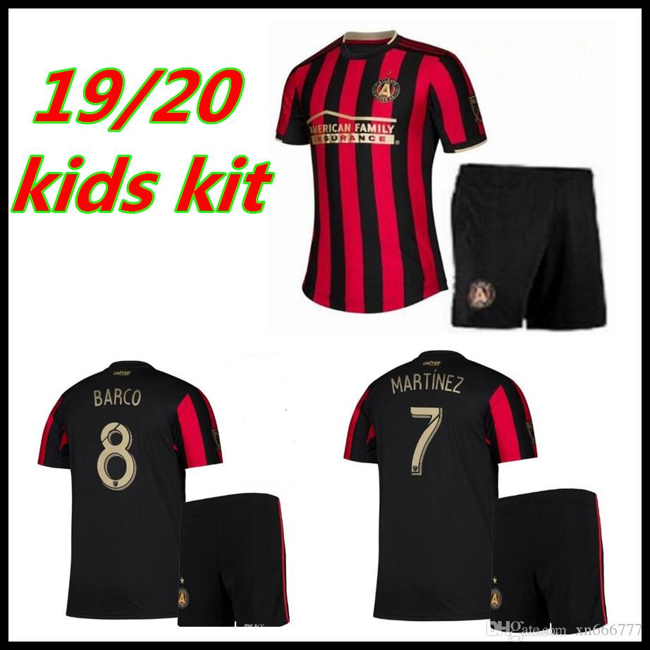 the best attitude fbd3e 02892 MLS 2019 2020 Atlanta United Kids Kit Soccer Jersey Home Red Stripes  VILLALBA MARTINEZ BARCO FC Children Boy Youth Football set shirts