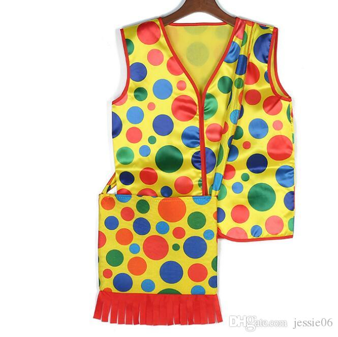 Halloween Makeup Fancy Dress Costumes Colorful Dot Clown Vest Backpack mardi gras carnival Cosplay Performance Wear Tops Clothes bags gift