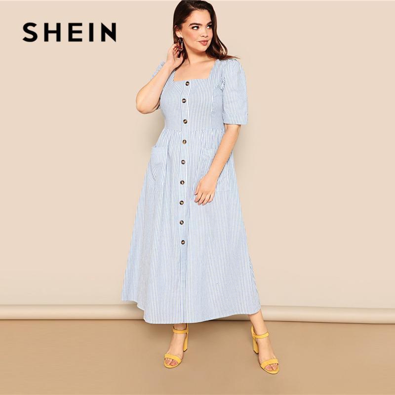 2a03a0b521 SHEIN Plus Size Blue Pocket Patched Buttoned Stripe Pocket Dress ...