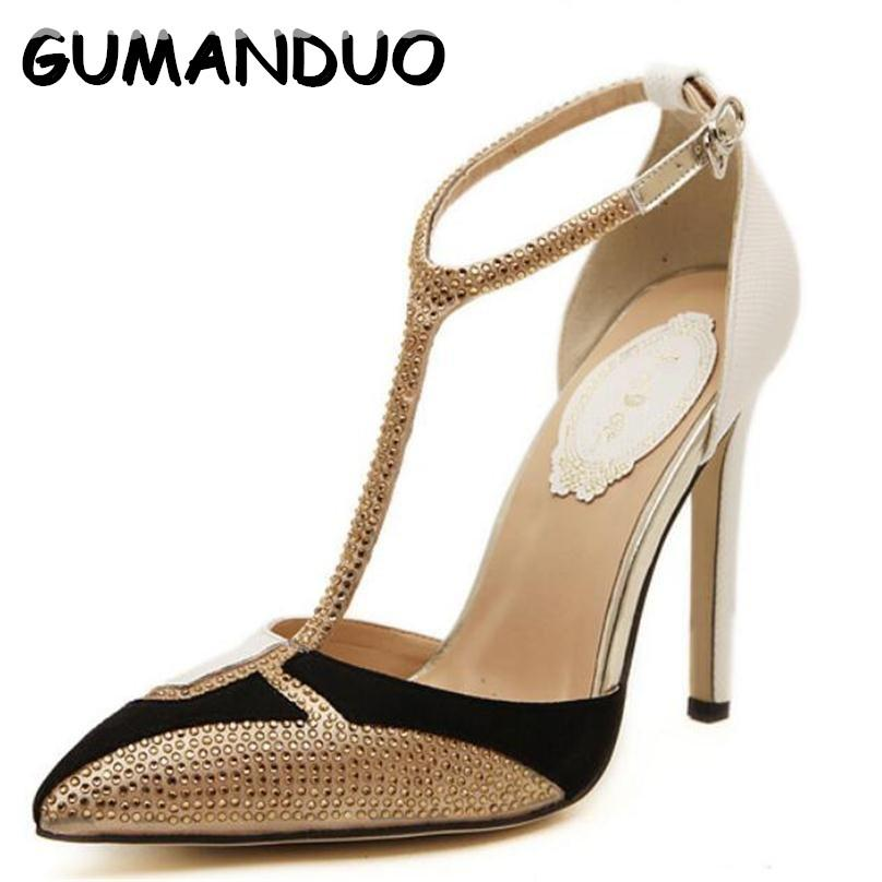 7f3e2117a03c GUMANDUO 2017 New Style Women Pumps Sexy Hollow Pointed Stiletto Heels  Diamond Spell Color High Heels Gold Dress Shoes Woman Best Shoes Stacy  Adams Shoes ...